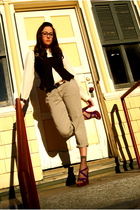 gray JCrew pants - purple Miu Miu shoes - white JCrew blouse - brown Nanette Lep