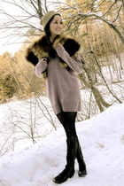 purple Lily McNeal sweater - black JCrew tights - black Joie boots - brown vinta