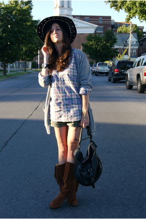 black free people hat - blue JCrew shirt - gray JCrew cardigan - brown KORS boot