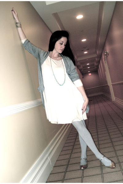 beige Rachel Pally dress - gray JCrew cardigan - silver Rebecca Taylor tights -