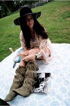green KORS boots - pink Cecilia du Bucourt scarf - silver JCrew blouse - silver