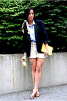 beige Johnson shorts - blue JCrew blazer - brown Gucci shoes - blue JCrew shirt