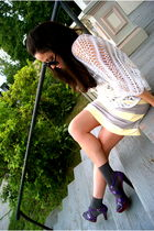 yellow Rachel Pally dress - white Seventh Door sweater - purple Miu Miu shoes -