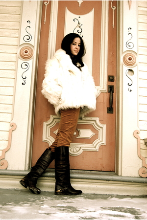 white vintage fur coat - orange JCrew pants - brown Golden Goose boots