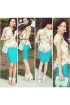 white Shoe Dazzle heels - aquamarine Forever21 purse - turquoise blue BCX skirt