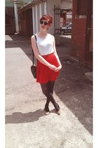 ruby red skirt - dark brown tights - black bag - brown belt - dark brown glasses