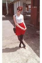 ruby red skirt - dark brown tights - black bag - brown belt - dark brown glasses