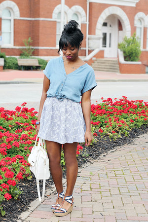 silver chic wish skirt - periwinkle denim Lucky Brand shirt