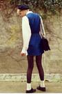 Navy-collar-minkpink-dress-black-beret-thrifted-hat-ivory-sheer-h-m-shirt