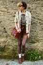 Brown-suede-miss-selfridge-shorts-dark-brown-beret-second-hand-hat