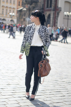 black Zara pants - H&amp;M Trend jacket - ivory vintage shirt