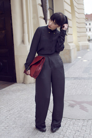 black silk Zara shirt - ruby red asos bag
