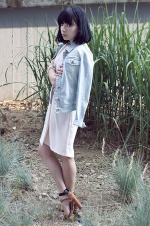 light blue denim Bershka jacket - light pink H&amp;M dress - light brown Zara heels