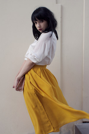 gold H&amp;M skirt - white H&amp;M blouse