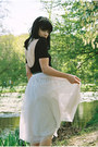 Off-white-tulle-h-m-skirt-black-american-apparel-bodysuit
