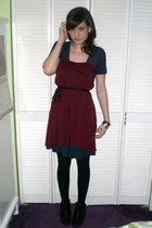 red dress - blue Forever 21 dress - black belt - black tights - black Aldo boots