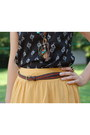 Dark-brown-beaded-necklace-black-feather-print-top-yellow-forever-21-skirt