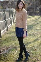 tan Express sweater - black leather ankle Gap boots - black H&M leggings