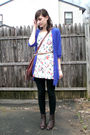 Blue-american-eagle-cardigan-black-h-m-leggings-white-h-m-top-brown-boots-