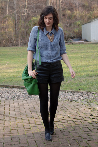 black faux leather Rampage shorts - light blue chambray Gap shirt - black tights