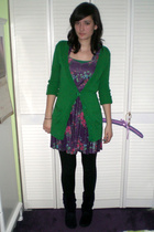 purple dress - green cardigan - black tights - purple boots - purple accessories