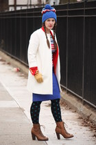red Zara blazer - brown lace-up boots - white Zara coat