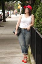 carrot orange neon Zara heels - periwinkle boyfriend jeans