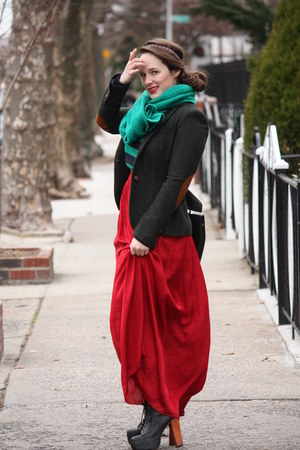 brick red maxi Zara skirt - black lace-up Jeffrey Campbell boots