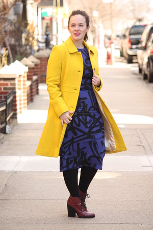 yellow wool blend JCrew coat - maroon lace-up Topshop boots - navy Topshop dress