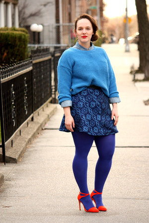 blue HUE tights - periwinkle denim Zara shirt - navy jacquard Zara skirt