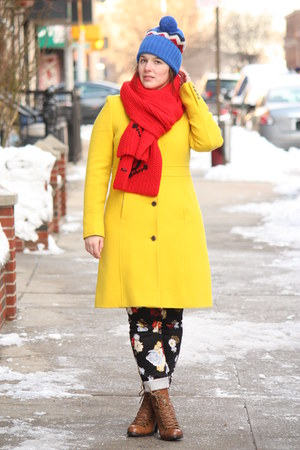 yellow wool blend J Crew coat - brown lace-up boots - blue beanie JCrew hat