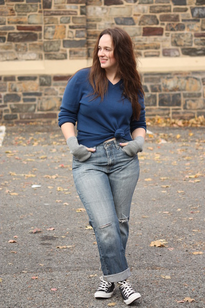 periwinkle boyfriend jeans - navy husbands sweater