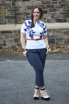 white H&M top - navy printed Zara pants - carrot orange Nordstrom belt