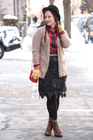 red Topshop bag - brown lace-up boots - black wool Nordstrom hat