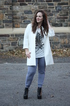 white Zara jacket - black lace up boots Jeffrey Campbell boots