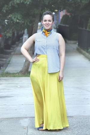 yellow silk maxi Zara skirt - orange DIY scarf - light blue striped Zara top