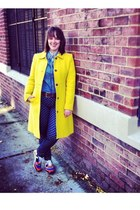 yellow yellow JCrew coat - carrot orange polka dot JCrew jeans