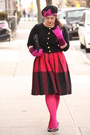 Hot-pink-wool-vintage-skirt-bubble-gum-beret-topshop-hat-hot-pink-hue-tights