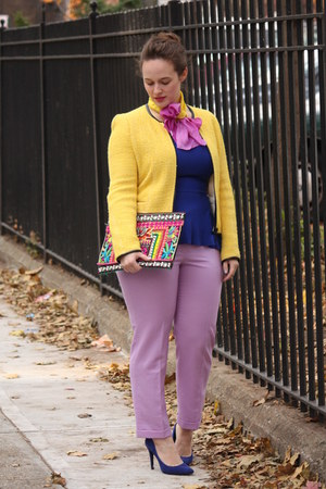 yellow Zara jacket - amethyst hand painted DIY scarf - chartreuse beaded bag
