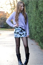 black floral Forever 21 dress - periwinkle Forever 21 sweater