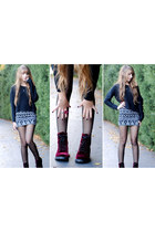 burgundy velvet H&M boots - black cropped H&M sweater