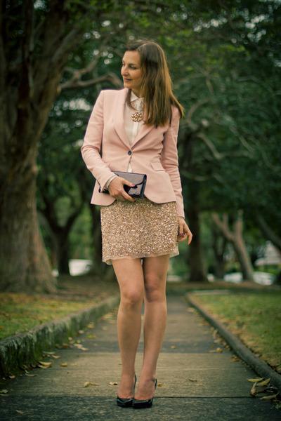 neutral sequins Zara skirt - light pink silk Zara jacket