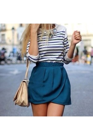 blue simple River Island skirt - navy straips H&M top