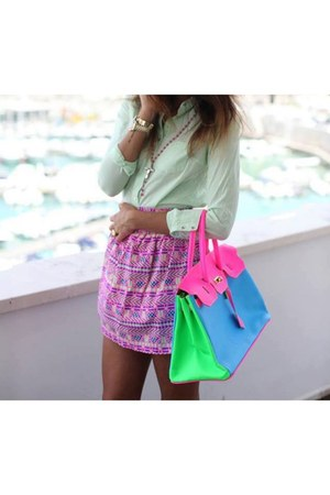 hot pink colourful Hermes bag - bubble gum short Forever 21 skirt