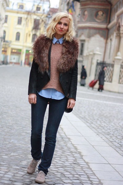 dark gray fur Pnk Casual jacket