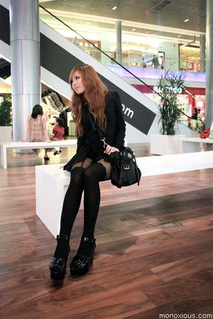 black H&amp;M shoes - black Topshop shirt - black bag - black Topshop stockings
