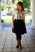 Forever 21 t-shirt - skirt - Target tights - Ross boots - vintage necklace