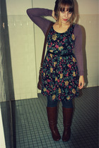 Forever 21 dress - Target boots - simply vera wang tights - top