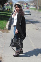 black sweater - blue jeans - black Forever21 shoes - black purse - white Goodwil