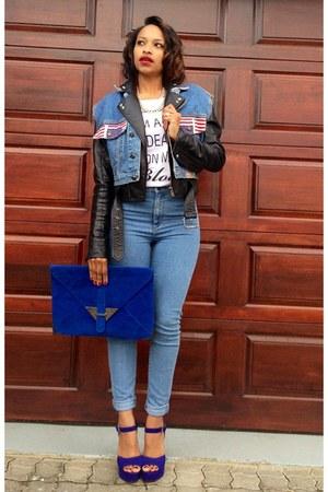 blue Topshop jeans - blue Foschini bag - blue Steve Madden heels